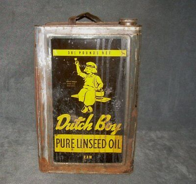 Large Old DUTCH BOY LINSEED OIL CAN White Lead Paint Thin Tin 38.75 Lbs Vintage