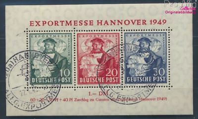 Bizonal (Allied Cast) block1a Sonderstempel used 1949 Hanover Fair (8162016