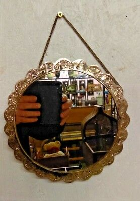 Vintage Bedo 900 Silver Repousse Turkish Hanging Wedding Mirror