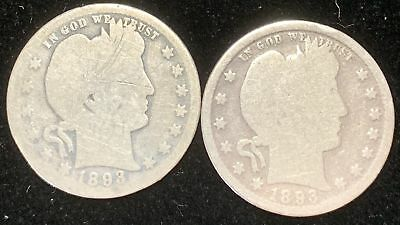 Lot of 2 Barber Silver Quarters 1893-P & 1893-O  Circulated
