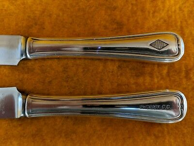 2 Vintage PHOENIX COUNTRY CLUB Oneida  Hotel Silver Dinner Knives