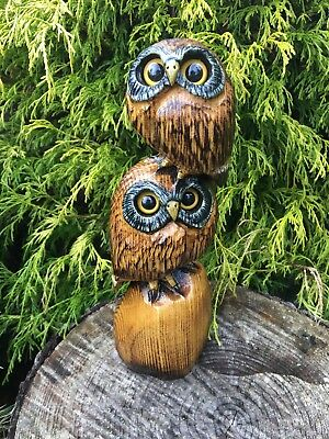 Chainsaw Carved Owls Pair, Couple SASSAFRAS WOOD Carvings Folk Art Collectibles