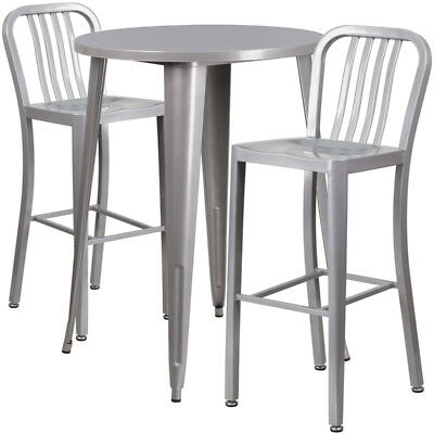 Flash Furniture Industrial Table Chair Set In Silver CH-51090BH-2-30VRT-SIL-GG