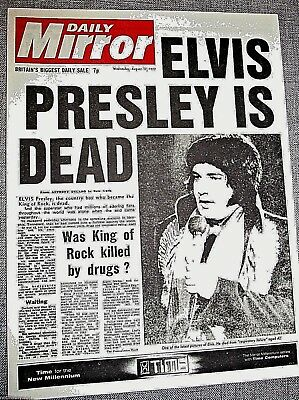 1977 ELVIS PRESLEY is Dead Head Line Newspaper Daily Mirror  Show man Singer u c