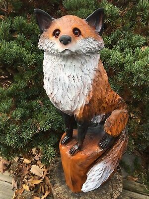 UNIQUE Chainsaw Carved FOX White Pine Wood Sculpture Dog Carvings Log Home Decor