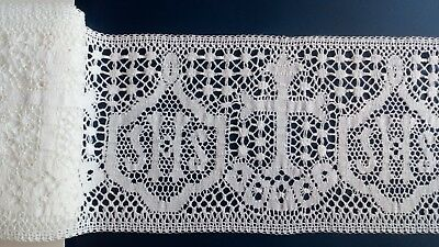 White Christmas Cluny Cotton IHS Church Lace Altar Cloth Vestment Cassock Robes