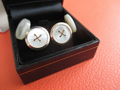 Pair of mens Vintage/Antique Mother of Pearl & Gold/Gilt Cufflinks c/w New Box