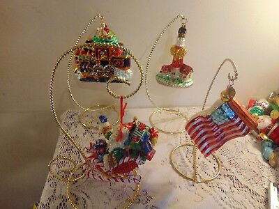 (4) Vintage Christopher Radko Christmas Ornaments With Gold Holders