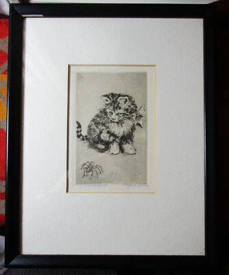 Vintage Framed Original Etching CAT WATCHING SPIDER /s