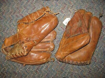 Vintage Pair of (2) Baseball Gloves:  3 Finger, Button Back