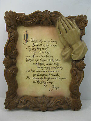 Homeco Lord's Prayer in Praying Hands Frame Vintage Religious