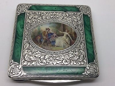 Sterling Silver Enamelled Marble & Family Portrait 1920's