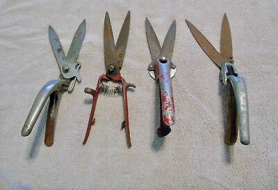 Vintage Antique Hedge Clipper/shears Garden Tool Lot Of (4) All Metal
