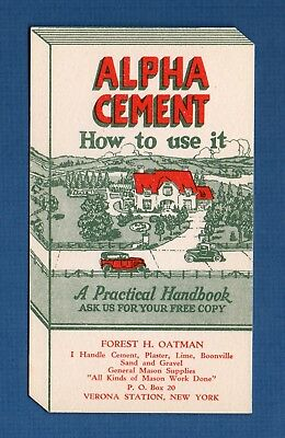 """ALPHA CEMENT Ink Blotter - 3¼""""x5¾"""", Book-Shaped Die-Cut, Verona Station NY, NM"""