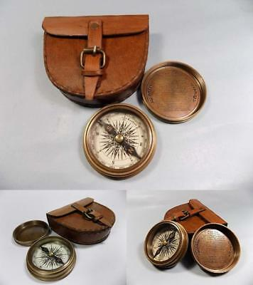 Antique Brass Pocket Compass Authentic Vintage Style Leather Case