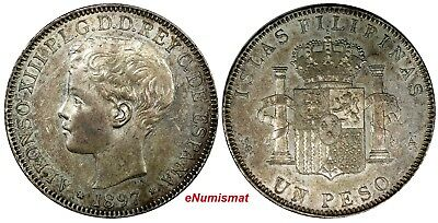 Philippines Alfonso XIII Silver 1897 SGV 1 Peso AU/UNC  1 YEAR TYPE KM# 154