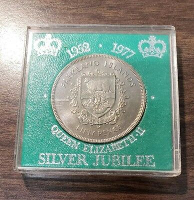 1977 Falkland Islands Fifty Pence Silver Jubilee Coin
