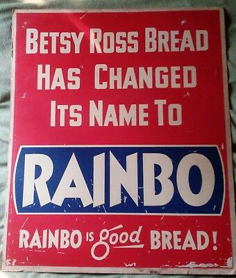 3 Vtg 1950s Rainbo Bread Betsy Ross Cardboard Store Display Signs 20x24 Name Chg