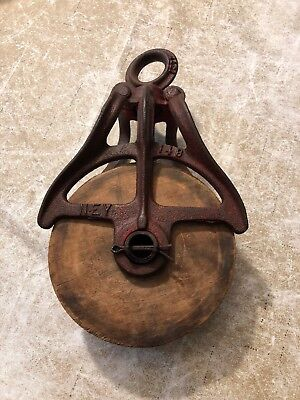 Vintage Antique Cast Iron & Wood Barn Hay Pulley Primitive Farm Tool Ney 148