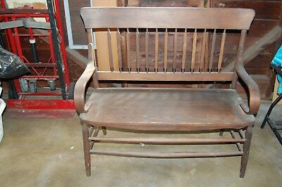 Antique Solid Oak Bench Late 1800's Early 1900's