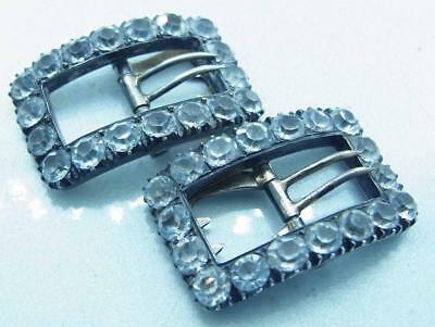 Stunning Pair Of Antique Silver Paste Shoe Buckles Poss Continental