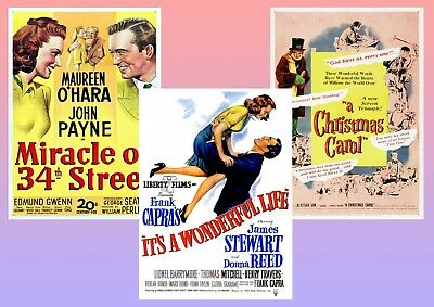 Classic Christmas Movie Posters: Miracle on 34th Street, Wonderful Life A5 A4 A3