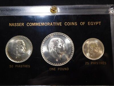 E52 Egypt 1970 Silver 25p, 50p, £1 Nasser Commemorative Coins in Black Holder