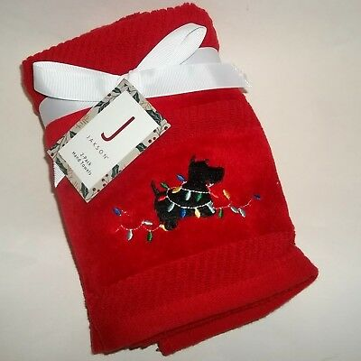 NWT SET OF 2 SCOTTISH TERRIER Red Christmas Hand Towels Embroidered Scottie Dog