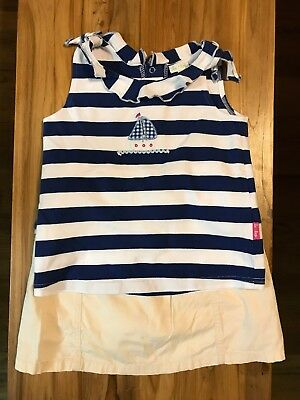 Girls Le Top Outfit Size 6x Navy/white Sailboat Boutique