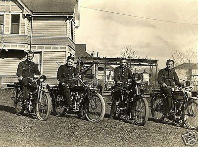 MOTORCYCLE 5x7 RIDERS GROUP POLICE FIRE?  PHOTO  HARLEY DAVIDSON early 1900's