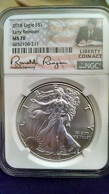 2018 1oz Silver Eagle NGC MS70 Early Releases Liberty Coin Act Label