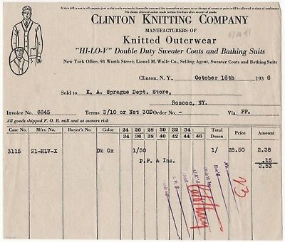 Clinton Knitting Mills NY Sweater Coats Bathing Suits 1936 Vintage Billhead