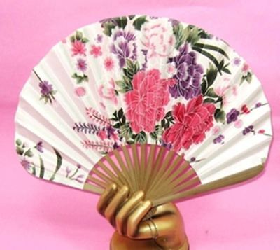 Chinese Bamboo Folding Silk HAND FAN white  Flowers Wedding Party Gift New