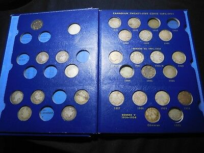 E74 Canada 20 & 25 Cents 1858-1936 Nearly Complete 46 pc Old Whitman Blue Album