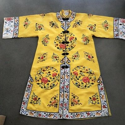 Vintage 40's Yellow Chinese Hand Embroidered Floral Rayon Kimono Robe Golden Bee