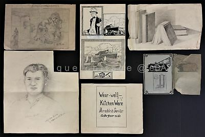 LOT 1912-23 antique 7pc SKETCH ART ooak CLARENCE von NIEDA reading pa AMAZING