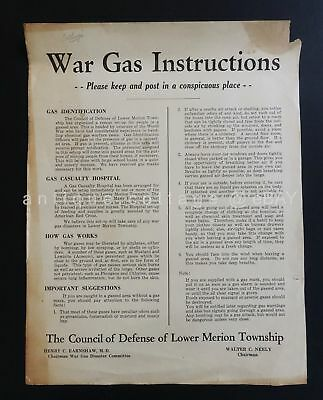 1940s WWII POSTER broadside WAR GAS INSTRUCTIONS council defense lower merion pa