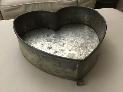 Early Antique Primitive Heart Shaped Tin Cake Pan