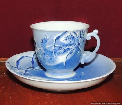 Antique Chinese Porcelain Cup Saucer Duck in Water Powder Blue Early 20th C.