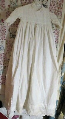 """Antique 1800's Panel Lace Cotton Christening Gown 36"""" Long Baby Doll"""