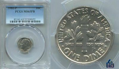 "Pcgs Ms-65Fb 1982-P Gem ""no Mint Set Year"" Roosevelt Dime! Price Guide $48.00!"