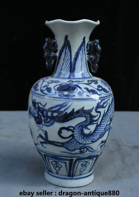 "10"" Rare Collect Old China Blue White Porcelain Dynasty Dragon Ear Bottle Vase"