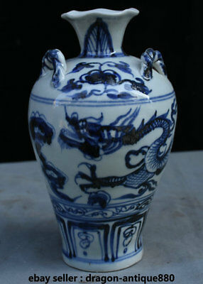 "9.6"" Collect Old China Blue White Porcelain Dynasty Palace Dragon Bottle Vase"