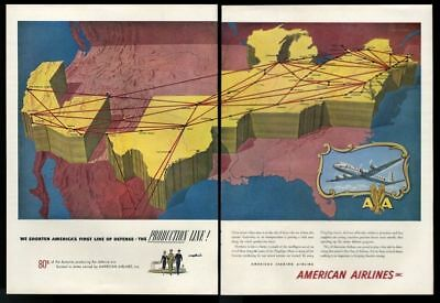 1951 American Airlines BIG color USA system map art vintage print ad