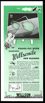 1941 Willsonite GP800W pilot aviator green sunglasses glasses vintage print ad