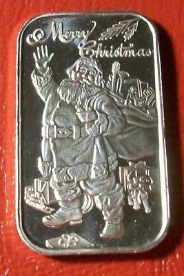 """Merry Christmas """"Santa with His Bag """" 1 oz.999 Pure Silver By SilverTowne Mint"""