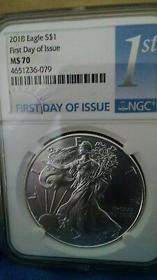 2018 1oz Silver Eagle First Day of Issue NGC MS70 First Day Of Issue LABEL