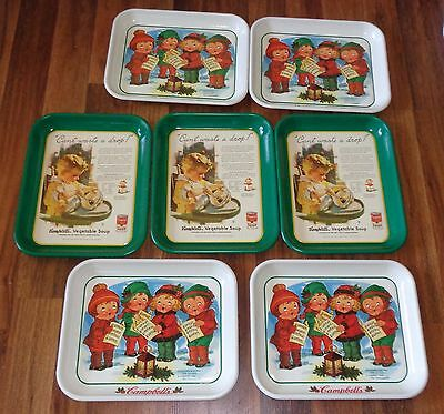 Lot of 7-Advertising Campbell's Soup Serving Trays-Lithograph from 1935 & 1979