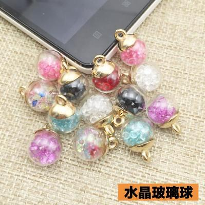 10pcs Colorful Glass Ball Pendant Crystal Beads Jewelry earrings Diy Accessories