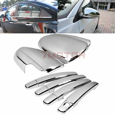 ABS Chrome Plated Mirror Cover+Side Door Handle Cover For Chevy Cruze 10-15 7M